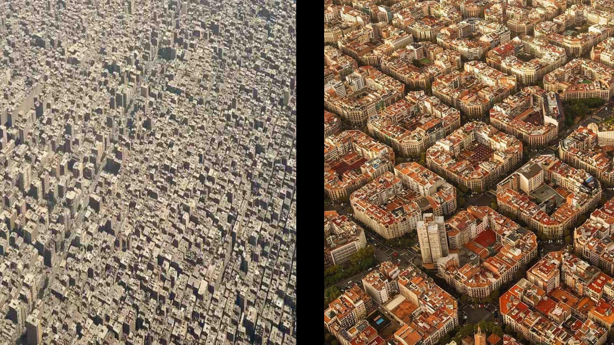 صورة لمدينة مخططة واخرى بنيت بعشوائية